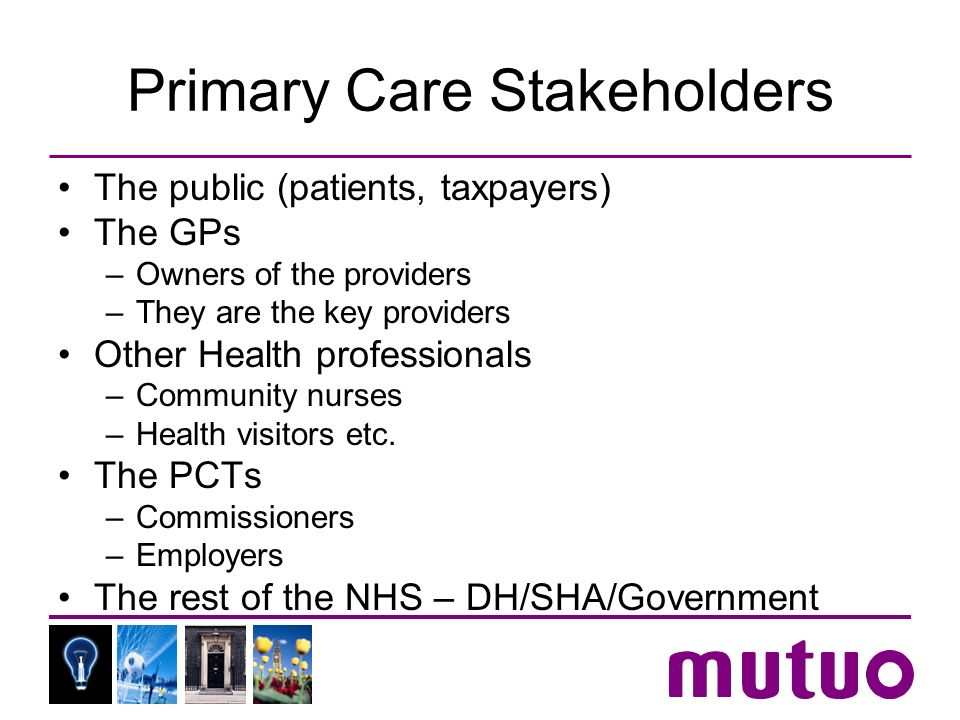 Primary Care Stakeholders The public (patients, taxpayers) The GPs –Owners of the providers –They are the key providers Other Health professionals –Co