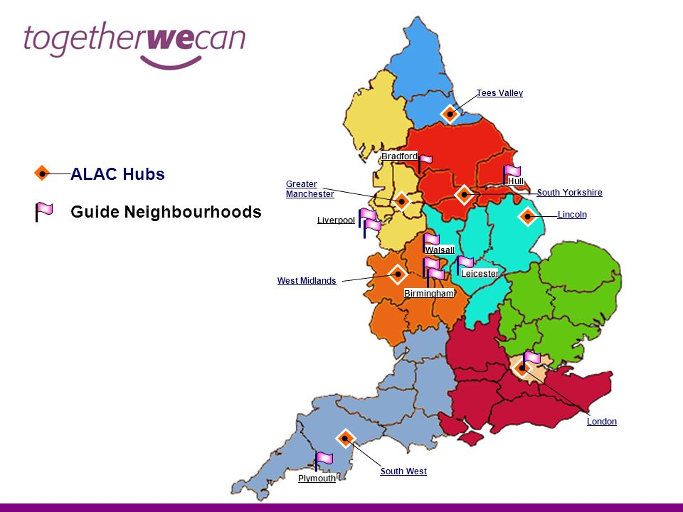 Lincoln Greater Manchester South West West Midlands South Yorkshire London Tees Valley ALAC Hubs Guide Neighbourhoods Walsall Leicester Hull Plymouth Liverpool Bradford Birmingham