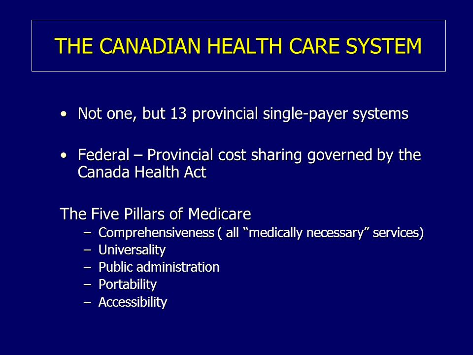 THE CANADIAN HEALTH CARE SYSTEM Not one, but 13 provincial single-payer systemsNot one, but 13 provincial single-payer systems Federal – Provincial cost sharing governed by the Canada Health ActFederal – Provincial cost sharing governed by the Canada Health Act The Five Pillars of Medicare –Comprehensiveness ( all medically necessary services) –Universality –Public administration –Portability –Accessibility