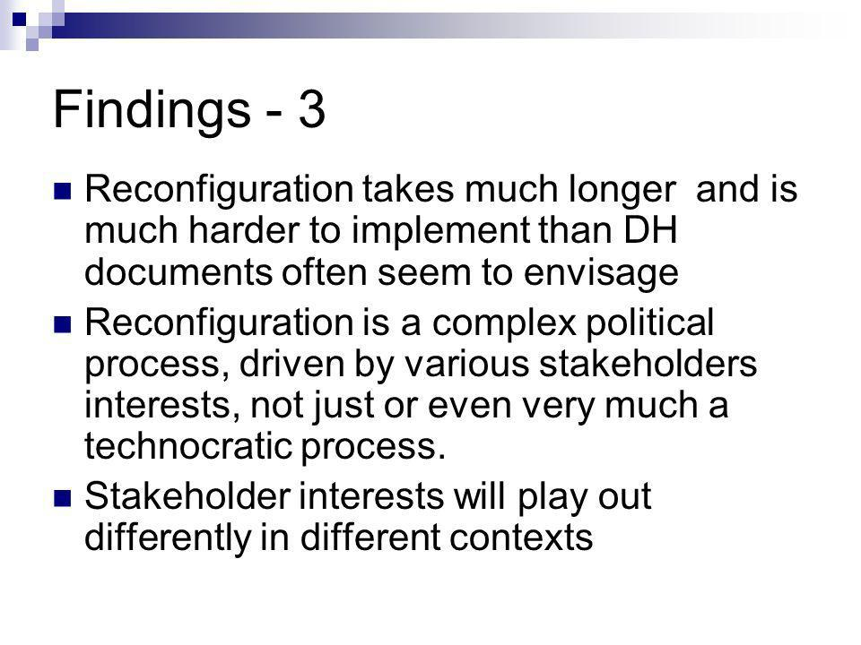 Findings - 3 Reconfiguration takes much longer and is much harder to implement than DH documents often seem to envisage Reconfiguration is a complex p