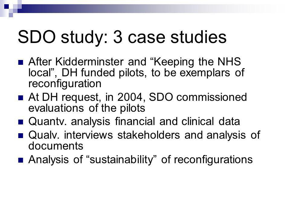SDO study: 3 case studies After Kidderminster and Keeping the NHS local, DH funded pilots, to be exemplars of reconfiguration At DH request, in 2004, SDO commissioned evaluations of the pilots Quantv.