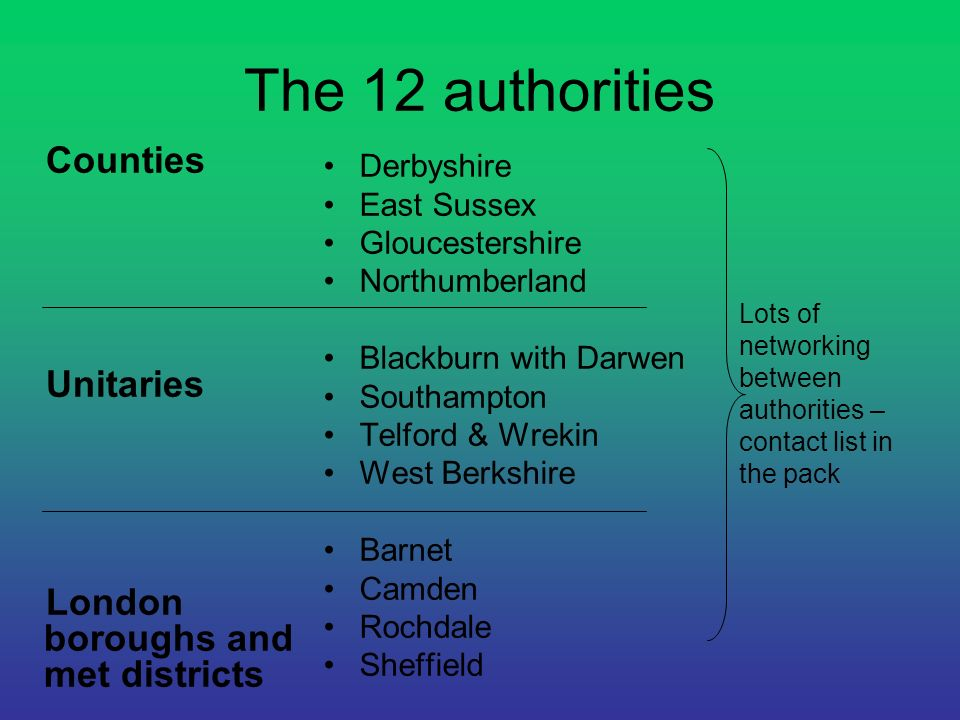 The 12 authorities Counties Unitaries London boroughs and met districts Derbyshire East Sussex Gloucestershire Northumberland Blackburn with Darwen So