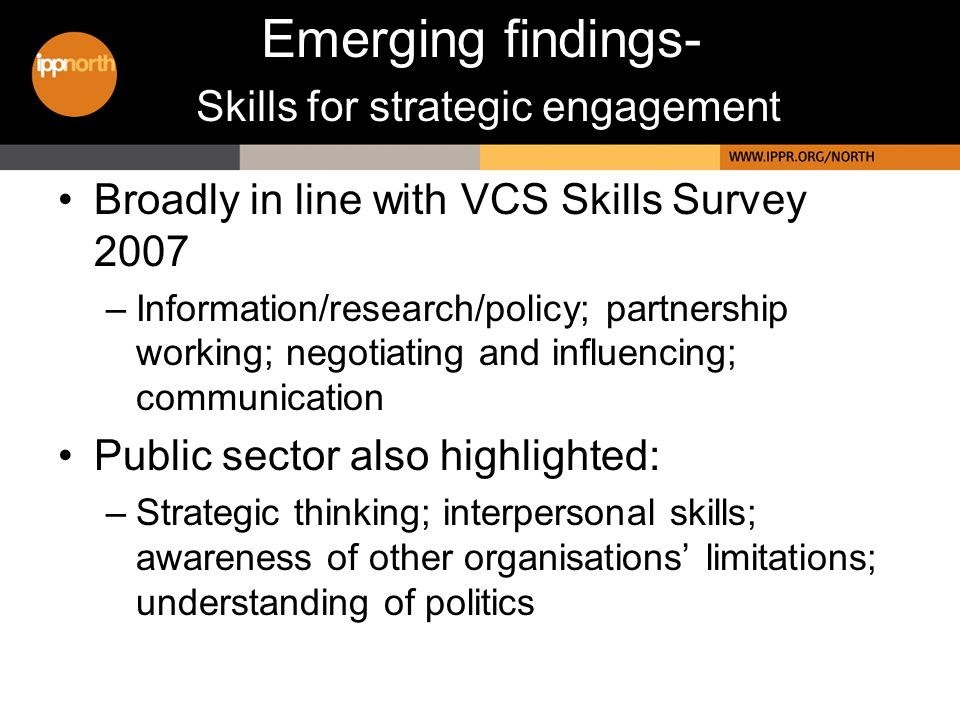 Broadly in line with VCS Skills Survey 2007 –Information/research/policy; partnership working; negotiating and influencing; communication Public sector also highlighted: –Strategic thinking; interpersonal skills; awareness of other organisations limitations; understanding of politics