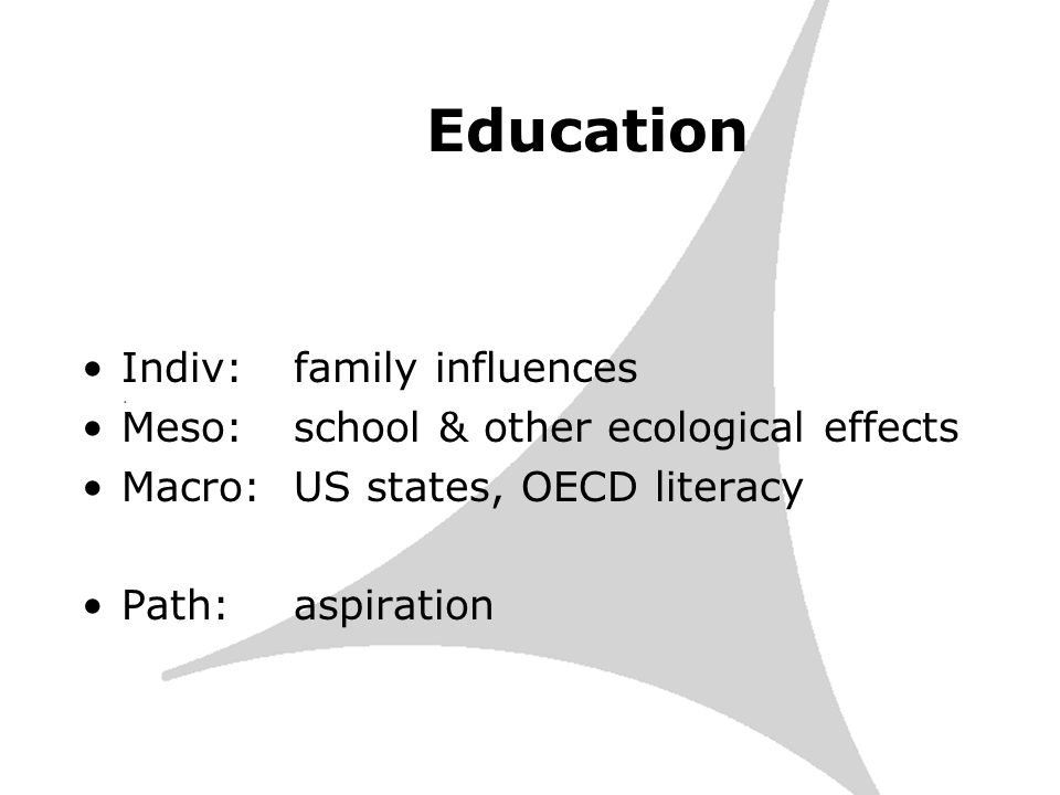 Education Indiv: family influences Meso: school & other ecological effects Macro:US states, OECD literacy Path:aspiration