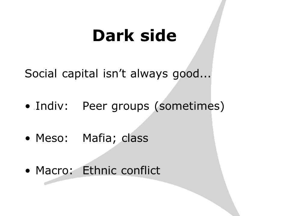 Dark side Social capital isnt always good...