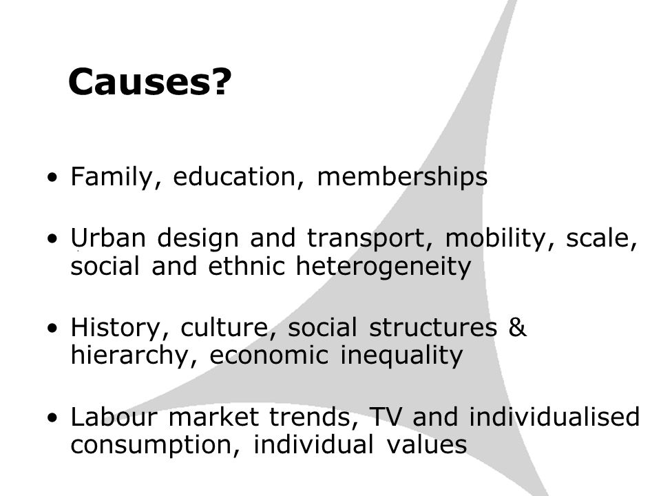 Causes? Family, education, memberships Urban design and transport, mobility, scale, social and ethnic heterogeneity History, culture, social structure