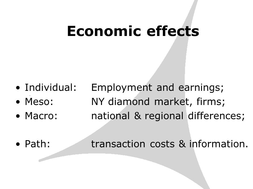 Economic effects Individual: Employment and earnings; Meso: NY diamond market, firms; Macro:national & regional differences; Path:transaction costs & information.