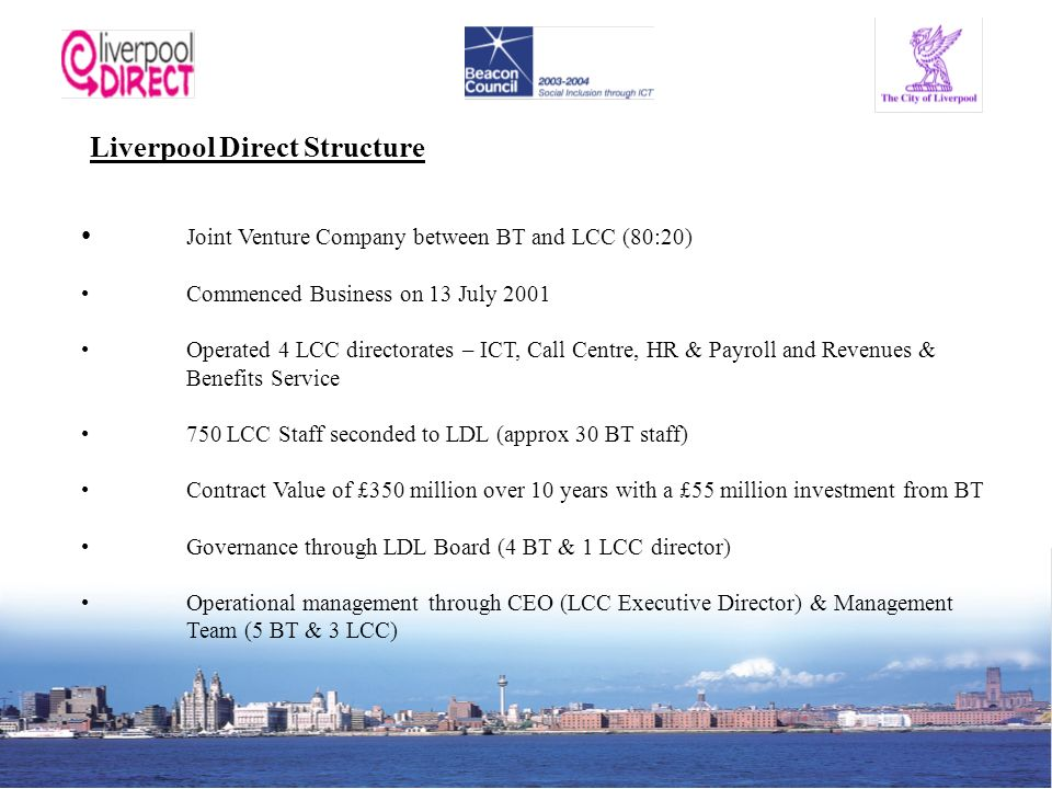 Liverpool Direct Structure Joint Venture Company between BT and LCC (80:20) Commenced Business on 13 July 2001 Operated 4 LCC directorates – ICT, Call