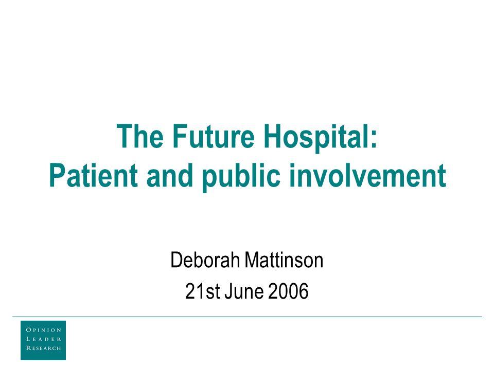 The Future Hospital: Patient and public involvement Deborah Mattinson 21st June 2006
