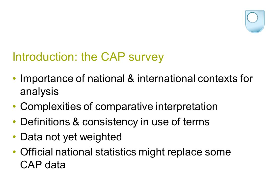 Introduction: the CAP survey Importance of national & international contexts for analysis Complexities of comparative interpretation Definitions & con