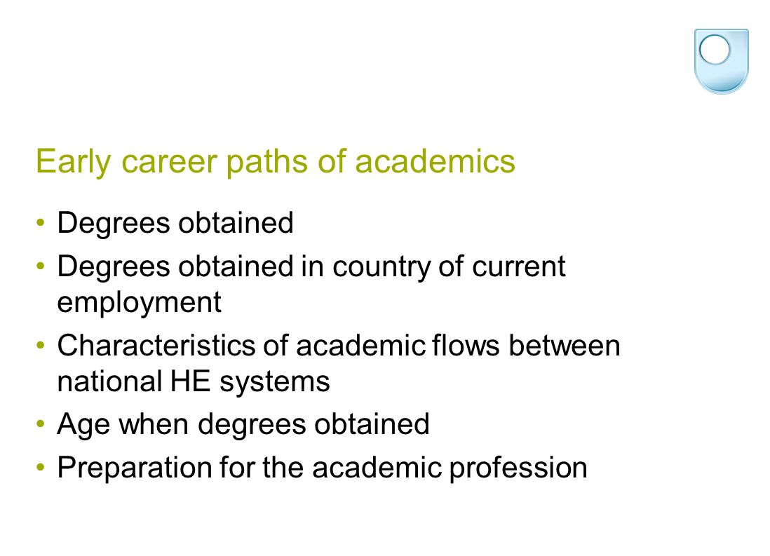 Early career paths of academics Degrees obtained Degrees obtained in country of current employment Characteristics of academic flows between national