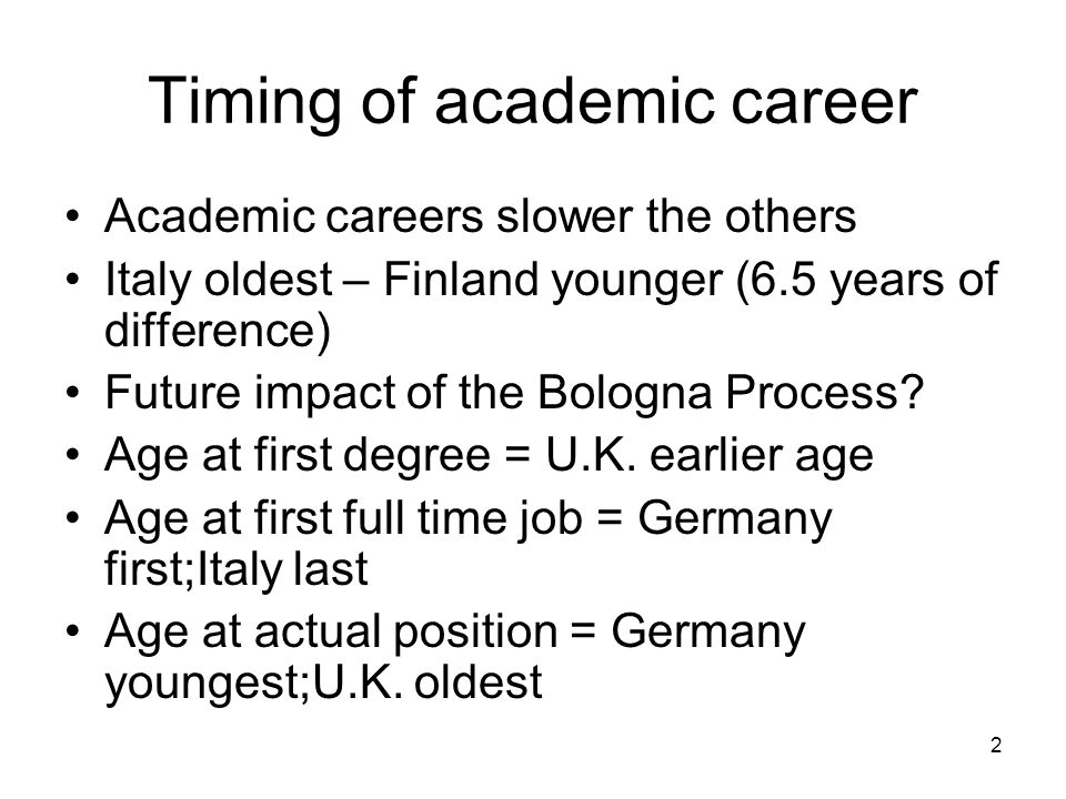 2 Timing of academic career Academic careers slower the others Italy oldest – Finland younger (6.5 years of difference) Future impact of the Bologna P