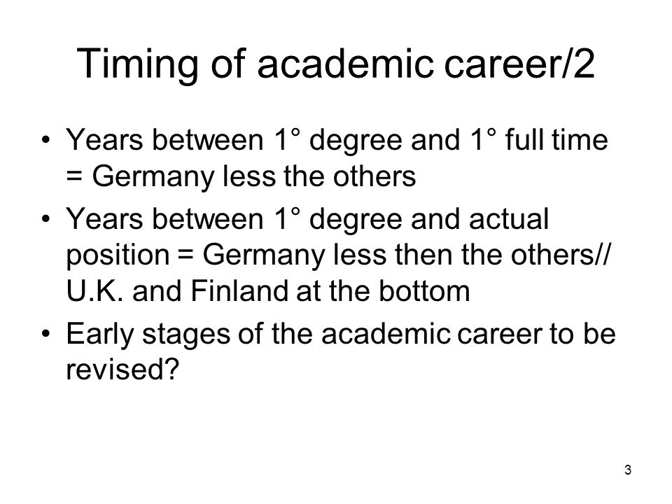 3 Timing of academic career/2 Years between 1° degree and 1° full time = Germany less the others Years between 1° degree and actual position = Germany