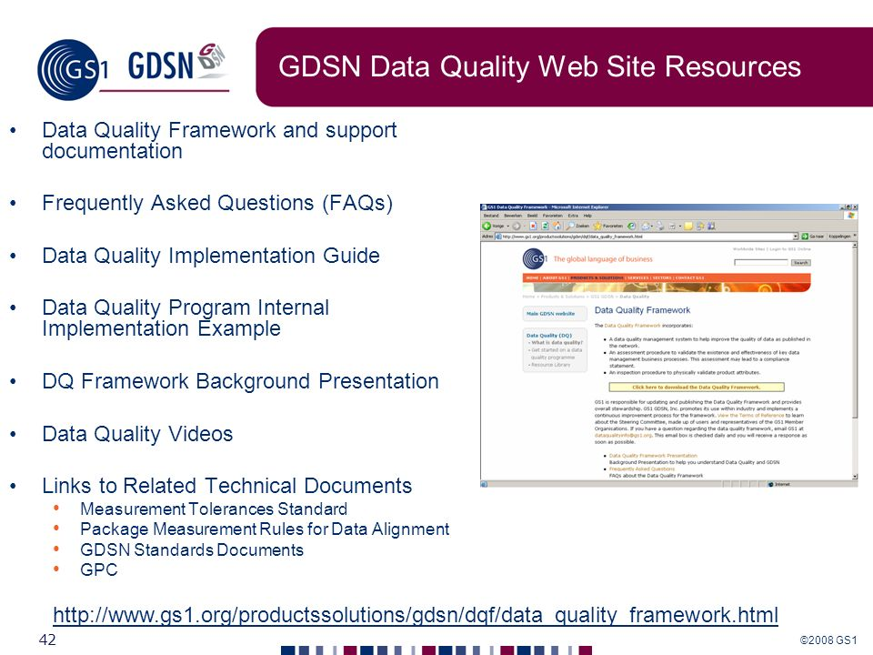 ©2008 GS1 42 GDSN Data Quality Web Site Resources Data Quality Framework and support documentation Frequently Asked Questions (FAQs) Data Quality Impl