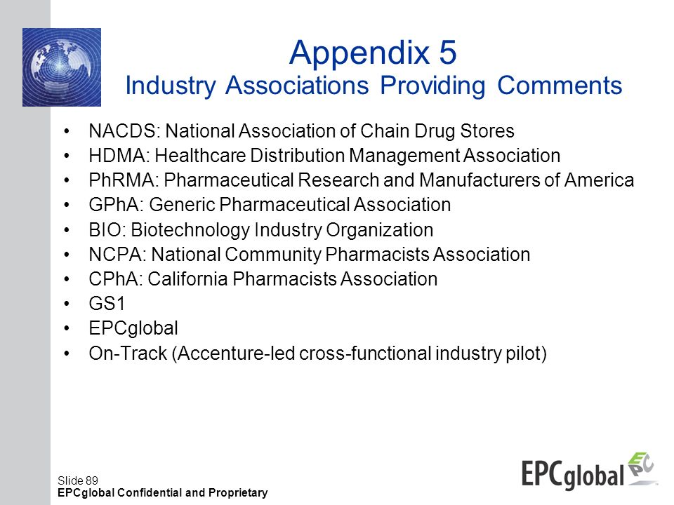 Slide 89 EPCglobal Confidential and Proprietary Appendix 5 Industry Associations Providing Comments NACDS: National Association of Chain Drug Stores H