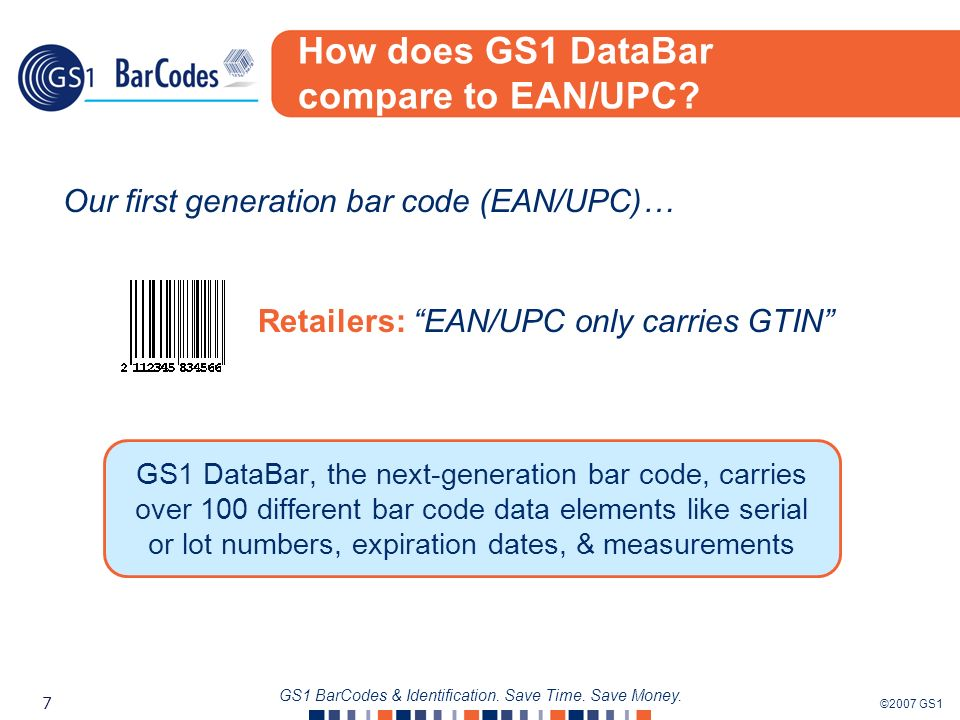 ©2007 GS1 7 GS1 BarCodes & Identification. Save Time. Save Money. How does GS1 DataBar compare to EAN/UPC? GS1 DataBar, the next-generation bar code,