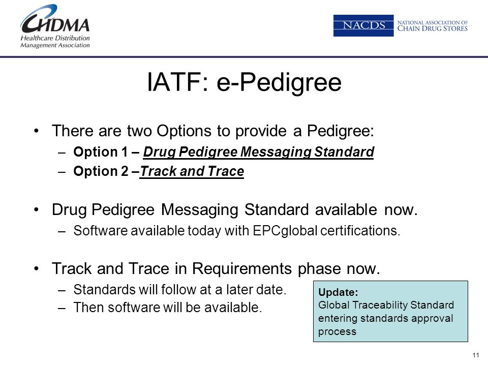 11 IATF: e-Pedigree There are two Options to provide a Pedigree: –Option 1 – Drug Pedigree Messaging Standard –Option 2 –Track and Trace Drug Pedigree