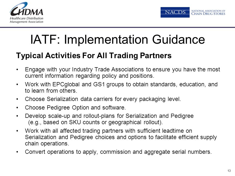 13 IATF: Implementation Guidance Typical Activities For All Trading Partners Engage with your Industry Trade Associations to ensure you have the most