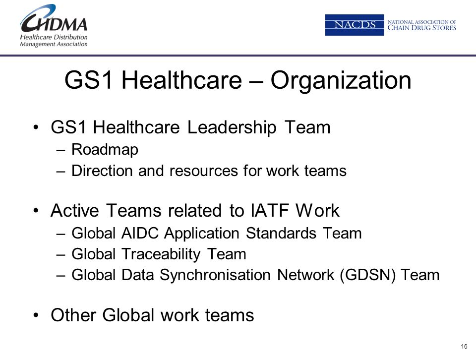 16 GS1 Healthcare – Organization GS1 Healthcare Leadership Team –Roadmap –Direction and resources for work teams Active Teams related to IATF Work –Gl