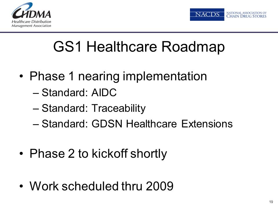 19 GS1 Healthcare Roadmap Phase 1 nearing implementation –Standard: AIDC –Standard: Traceability –Standard: GDSN Healthcare Extensions Phase 2 to kick
