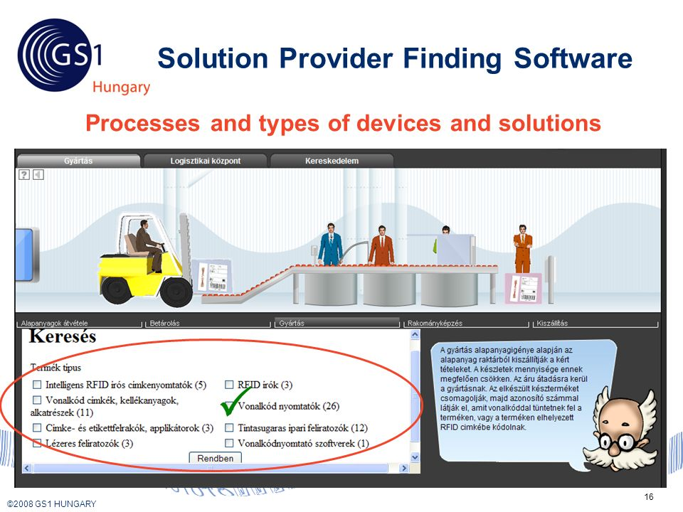 © 2008 GS1 US ©2008 GS1 HUNGARY 16 Solution Provider Finding Software Processes and types of devices and solutions