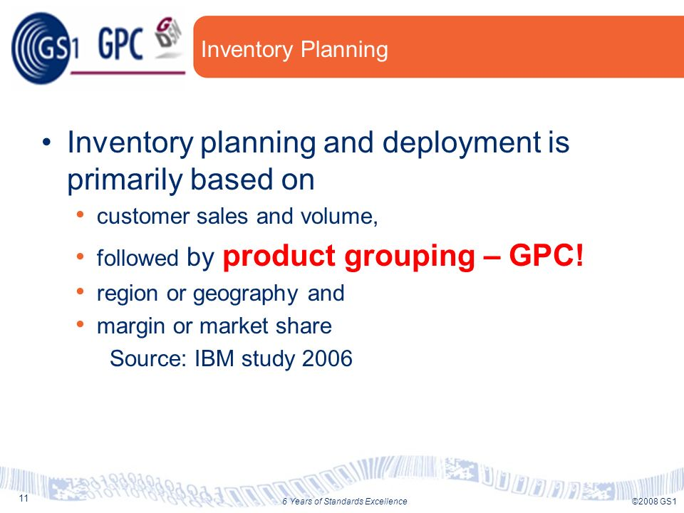 11 ©2008 GS16 Years of Standards Excellence Inventory Planning Inventory planning and deployment is primarily based on customer sales and volume, followed by product grouping – GPC.