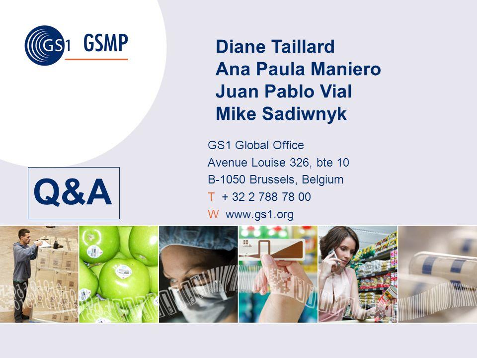 Q&A GS1 Global Office Avenue Louise 326, bte 10 B-1050 Brussels, Belgium T + 32 2 788 78 00 W www.gs1.org Diane Taillard Ana Paula Maniero Juan Pablo