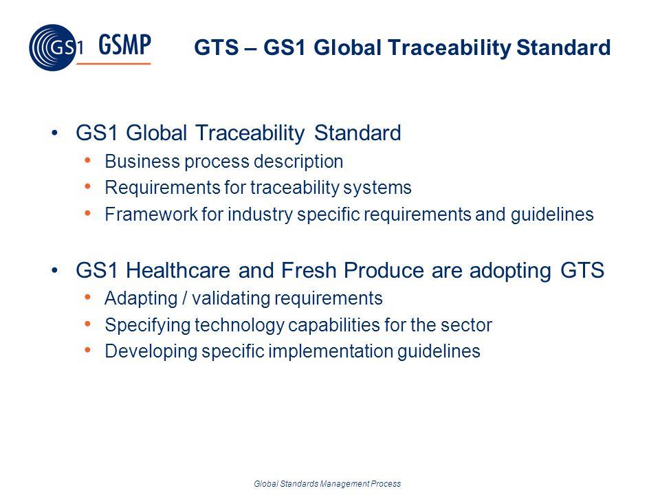 Global Standards Management Process GTS – GS1 Global Traceability Standard GS1 Global Traceability Standard Business process description Requirements