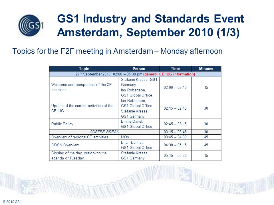 © 2010 GS1 GS1 Industry and Standards Event Amsterdam, September 2010 (1/3) Topics for the F2F meeting in Amsterdam – Monday afternoon TopicPersonTime