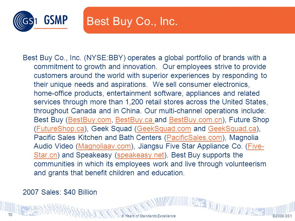 10 ©2008 GS16 Years of Standards Excellence Best Buy Co., Inc. Best Buy Co., Inc. (NYSE:BBY) operates a global portfolio of brands with a commitment t
