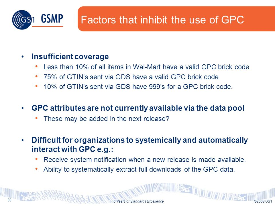 30 ©2008 GS16 Years of Standards Excellence Factors that inhibit the use of GPC Insufficient coverage Less than 10% of all items in Wal-Mart have a va