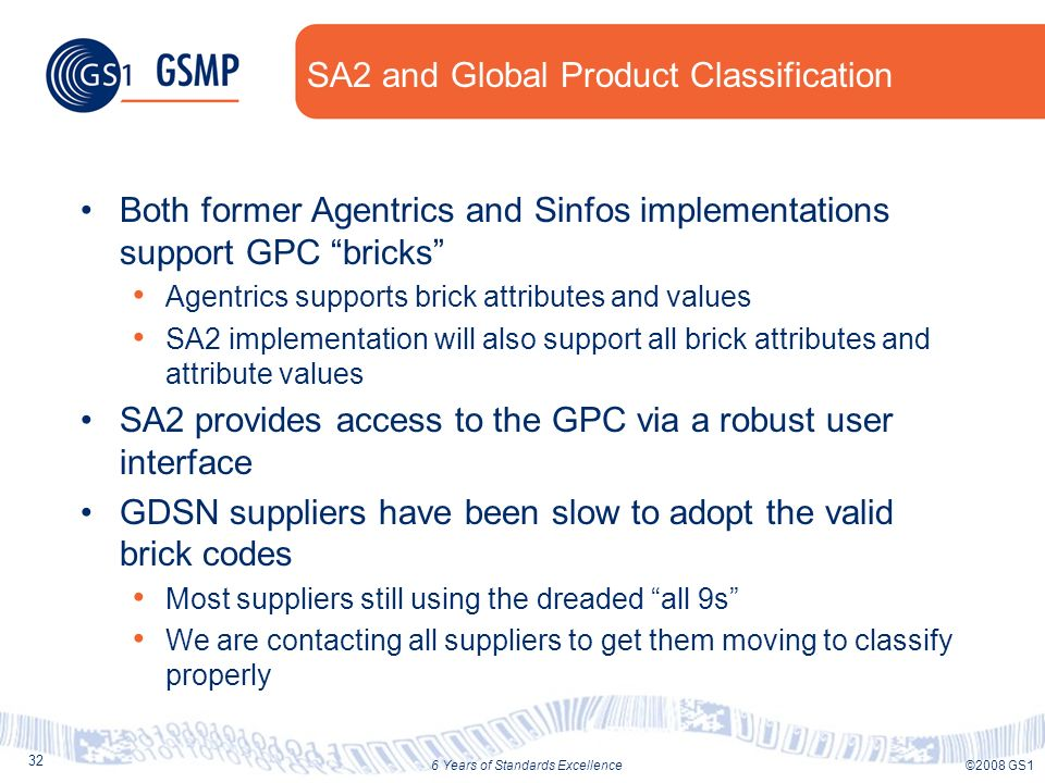 32 ©2008 GS16 Years of Standards Excellence SA2 and Global Product Classification Both former Agentrics and Sinfos implementations support GPC bricks