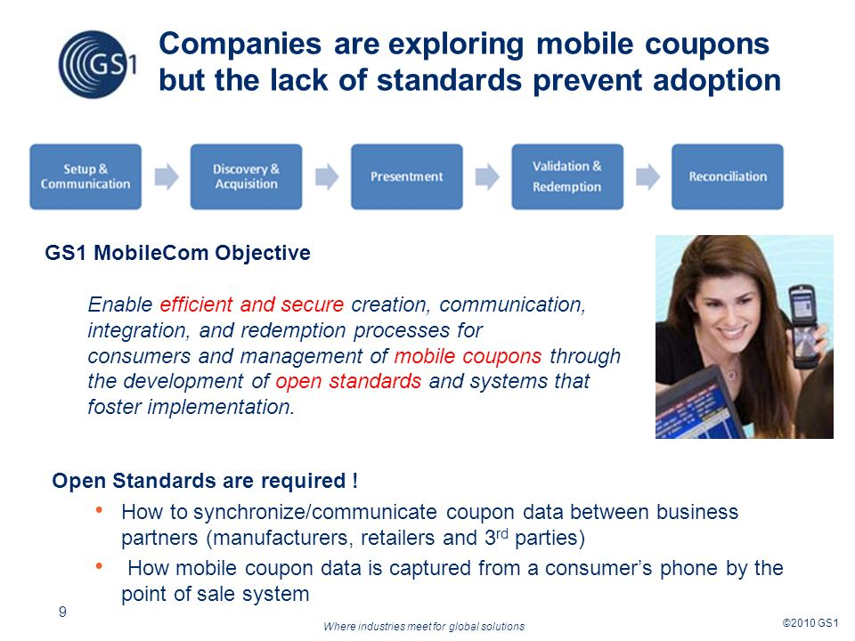 Where industries meet for global solutions ©2010 GS1 9 Companies are exploring mobile coupons but the lack of standards prevent adoption Open Standards are required .