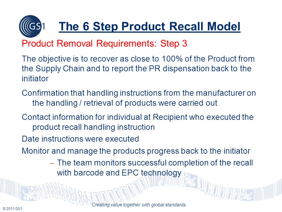 © 2011 GS1 Creating value together with global standards The 6 Step Product Recall Model Product Removal Requirements: Step 3 The objective is to recover as close to 100% of the Product from the Supply Chain and to report the PR dispensation back to the initiator Confirmation that handling instructions from the manufacturer on the handling / retrieval of products were carried out Contact information for individual at Recipient who executed the product recall handling instruction Date instructions were executed Monitor and manage the products progress back to the initiator –The team monitors successful completion of the recall with barcode and EPC technology