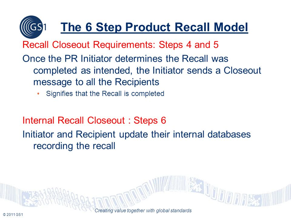 © 2011 GS1 Creating value together with global standards The 6 Step Product Recall Model Recall Closeout Requirements: Steps 4 and 5 Once the PR Initi