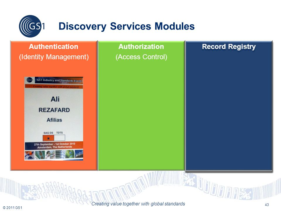 © 2011 GS1 Creating value together with global standards 43 Discovery Services Modules Authentication (Identity Management) Authorization (Access Control) Record Registry