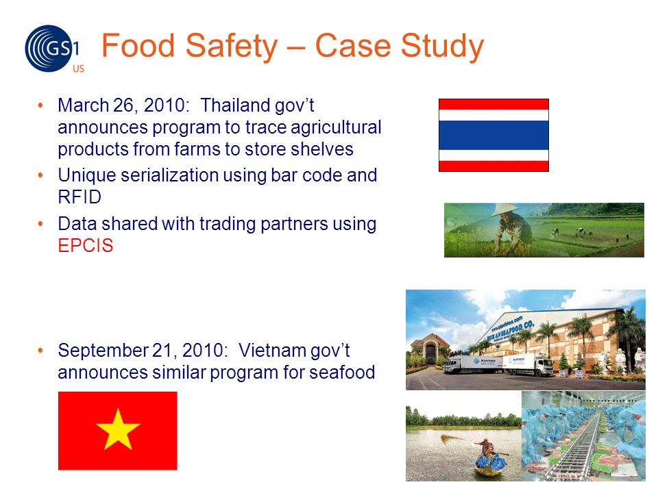 Food Safety – Case Study March 26, 2010: Thailand govt announces program to trace agricultural products from farms to store shelves Unique serializati
