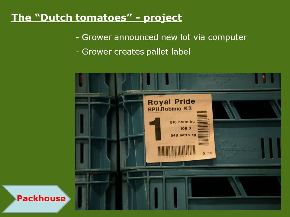 Packhouse The Dutch tomatoes - project - Grower announced new lot via computer - Grower creates pallet label