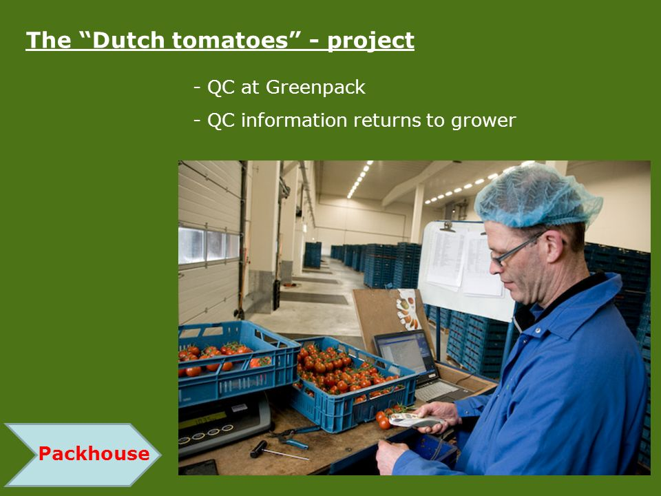 - QC at Greenpack - QC information returns to grower Packhouse