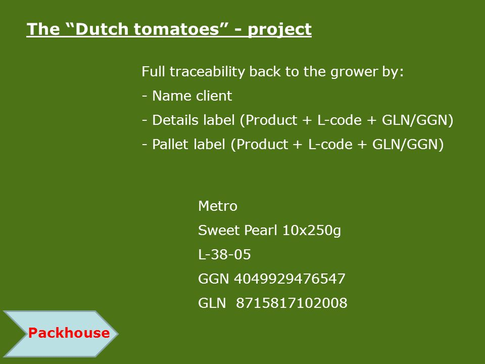Packhouse The Dutch tomatoes - project Full traceability back to the grower by: - Name client - Details label (Product + L-code + GLN/GGN) - Pallet la