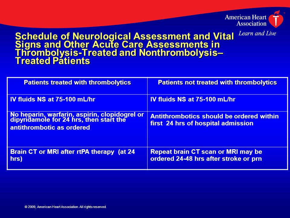 © 2009, American Heart Association. All rights reserved. Schedule of Neurological Assessment and Vital Signs and Other Acute Care Assessments in Throm