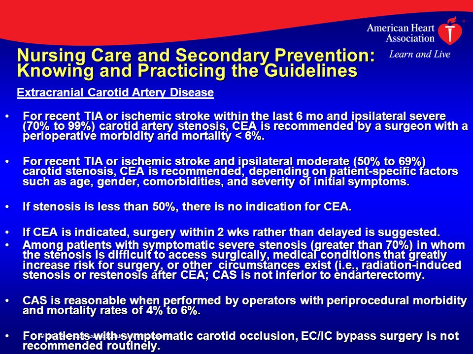 © 2009, American Heart Association. All rights reserved. Nursing Care and Secondary Prevention: Knowing and Practicing the Guidelines For recent TIA o
