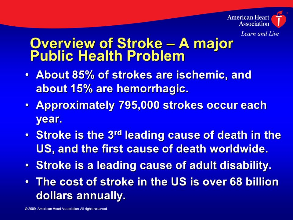 Overview of Stroke – A major Public Health Problem About 85% of strokes are ischemic, and about 15% are hemorrhagic.About 85% of strokes are ischemic,