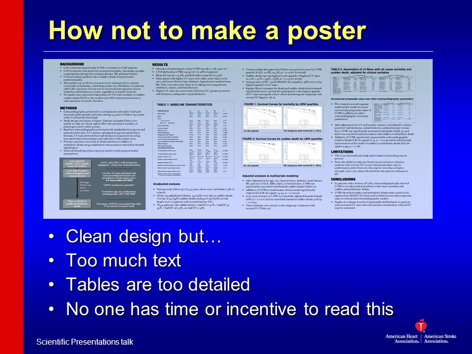 Scientific Presentations talk How not to make a poster Clean design but… Too much text Tables are too detailed No one has time or incentive to read th