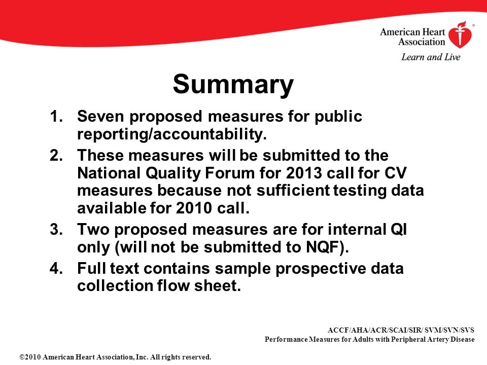 Summary 1.Seven proposed measures for public reporting/accountability.