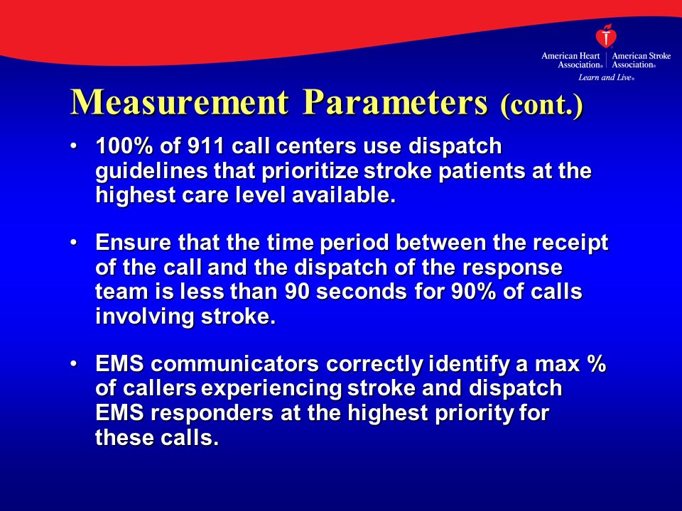 Measurement Parameters (cont.) 100% of 911 call centers use dispatch guidelines that prioritize stroke patients at the highest care level available.10
