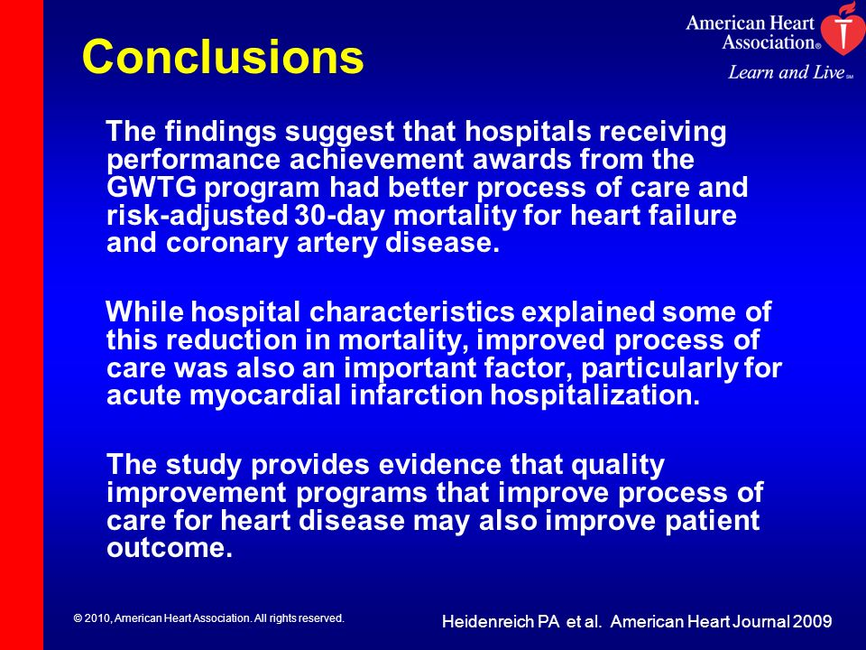 © 2010, American Heart Association. All rights reserved. Conclusions Heidenreich PA et al. American Heart Journal 2009 The findings suggest that hospi