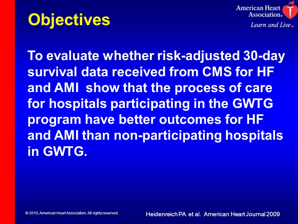 © 2010, American Heart Association. All rights reserved. Objectives To evaluate whether risk-adjusted 30-day survival data received from CMS for HF an