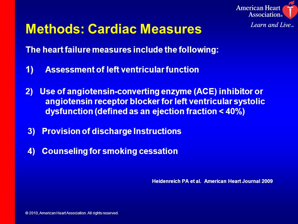 © 2010, American Heart Association. All rights reserved. Methods: Cardiac Measures The heart failure measures include the following: 1) Assessment of
