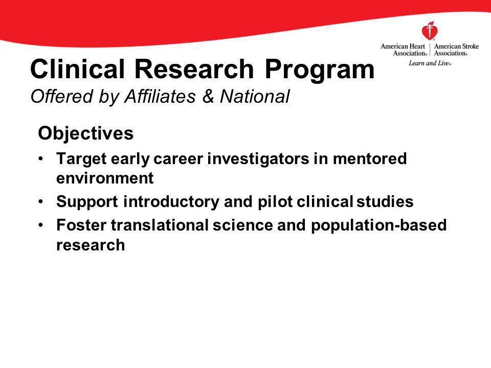 Objectives Target early career investigators in mentored environment Support introductory and pilot clinical studies Foster translational science and population-based research Clinical Research Program Offered by Affiliates & National